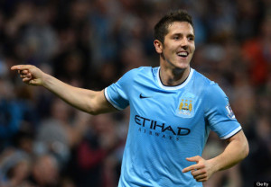 Stevan Jovetic con la maglia del Manchester City