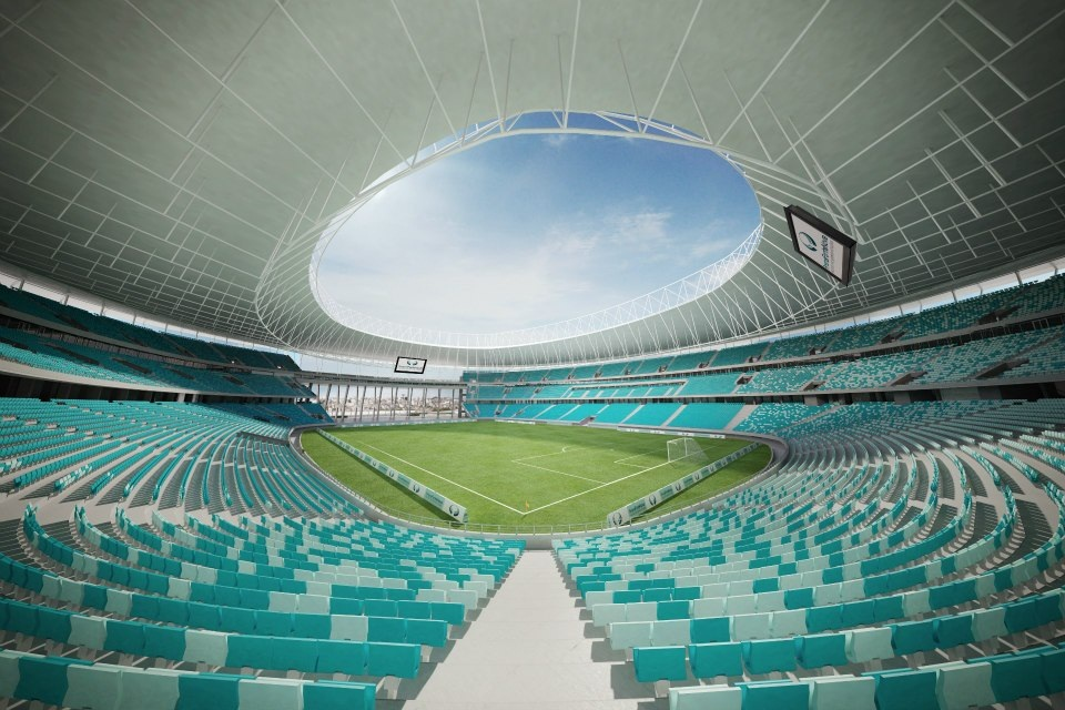 L'interno dell'Arena Fonte Nova, lo stadio del Salvador che ospiterà i prossimi Mondiali in Brasile