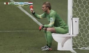 Cillessen si siede sul water in attesa che la partita finisca ..quando scappa, scappa