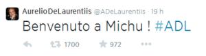 Il tweet del presidente De Laurentis