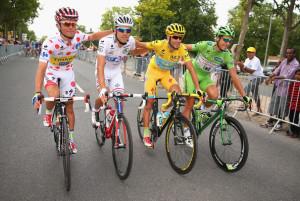 Le quattro maglie del Tour: Majka (pois), Pinot (bianca), Nibali (gialla) e Sagan (verde)