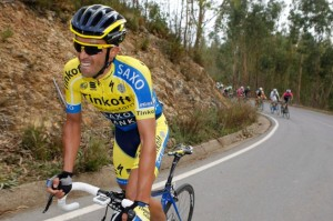 Alberto Contador,  autore di un attacco a circa due km di un arrivo e ora secondo nella classifica generale