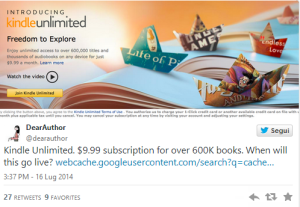 Kindle Unlimited: Il tweet incriminato