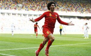 Fellaini, in gol agli ultimi Mondiali con il suo Belgio nella gara contro l'Algeria