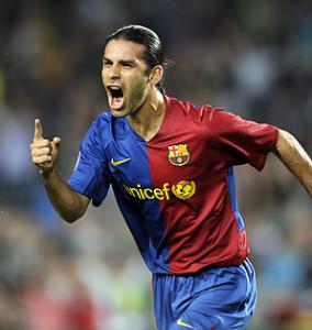 Rafa Marquez in gol con la maglia del Barcellona, con cui ha disputato 7 grandi stagioni, vincendo praticamente tutto