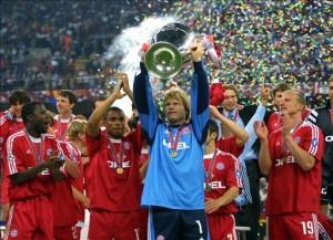 Il Bayern Monaco festeggia la Champions 2001 al Meazza di Milano.
