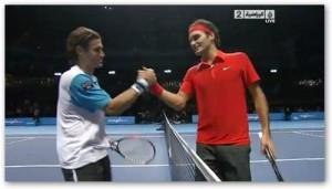 I due finalisti dell'ATP di Cincinnati, David Ferrer (a sinistra) e Roger Federer.