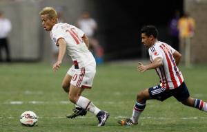 Honda, autore di una buona prestazione contro il Chivas