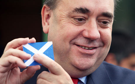 Alex Salmond, primo ministro della Scozia e leader dello Scottish National Party (SNP)