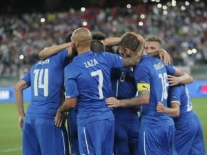 L'esultanza dei giocatori dell'Italia nel match con l'Olanda
