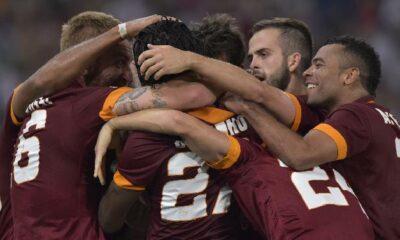 La squadra della Roma, impegnata nel match di Champions contro il CSKA Mosca