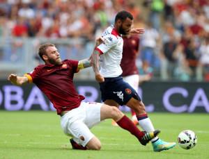 Roma-Cagliari 2-0: uno scontro di gioco tra De Rossi e Joao Pedro