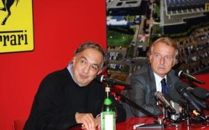 Sergio Marchionne e Luca Montezemolo, rispettivamente Presidente ed ex Presidente della Ferrari, nel corso della conferenza stampa di ieri tenutasi a Maranello