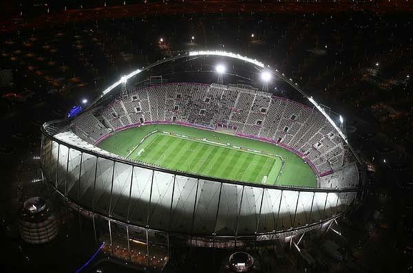 """Una veduta aerea del """"Khalifa International Stadium"""" di Doha, impianto che potrebbe ospitare la prossima finale di Supercoppa Italiana tra Juventus e Napoli"""
