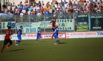Serie D: un momento del match tra Sarnese e Fidelis Andria, terminata 2-1 per gli ospiti.