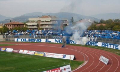 Serie D: la coreografia della curva del Foligno per il big match interno con il Sansepolcro