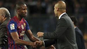 Keita con Guardiola, ai tempi del Barcellona