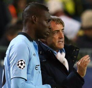 Mario Balotelli e Roberto Mancini ai tempi del Manchester City