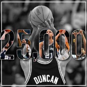 Tim Duncan, 25.000 punti in carriera