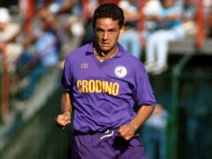 Roberto Baggio ai tempi della Fiorentina.