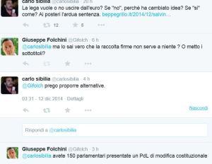 """Referendum """" fuori dall'euro"""": scambio di battute Folchini-Sibilia"""