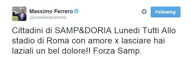 Il tweet di Massimo Ferrero
