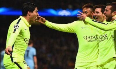 Suarez esulta, il Barcellona passa in casa del Manchester City.