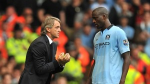 Yaya Tourè e Mancini ai tempi del Manchester City