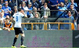 L'esultanza di Mauro Icardi dopo il gol alla Sampdoria nella scorsa stagione
