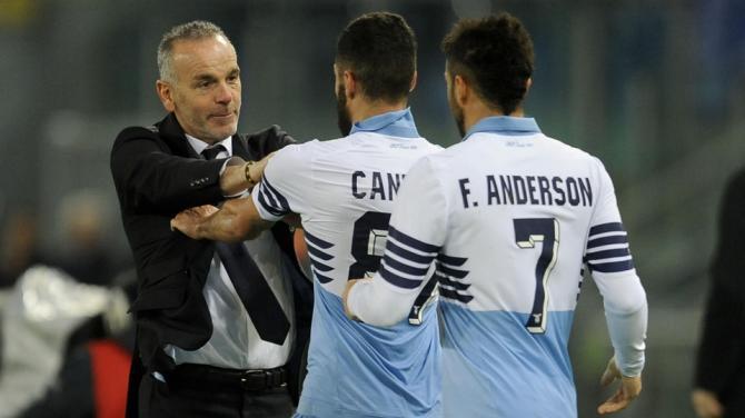La Lazio batte il Verona 2-0. I festeggiamenti di Pioli, Felipe Anderson e Candreva,