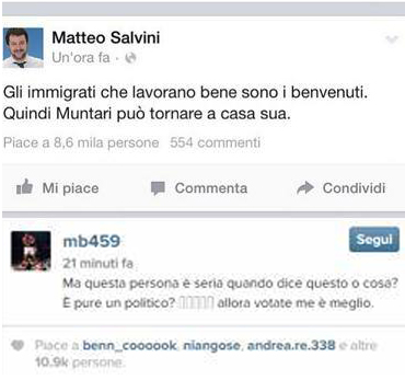 Botta e risposta fra Salvini e Balotelli