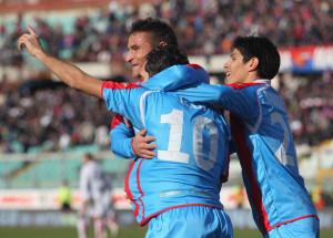 Esultanza dopo un gol realizzato da Lodi, anche lui trascinatore del Catania nella stagione 2012/13