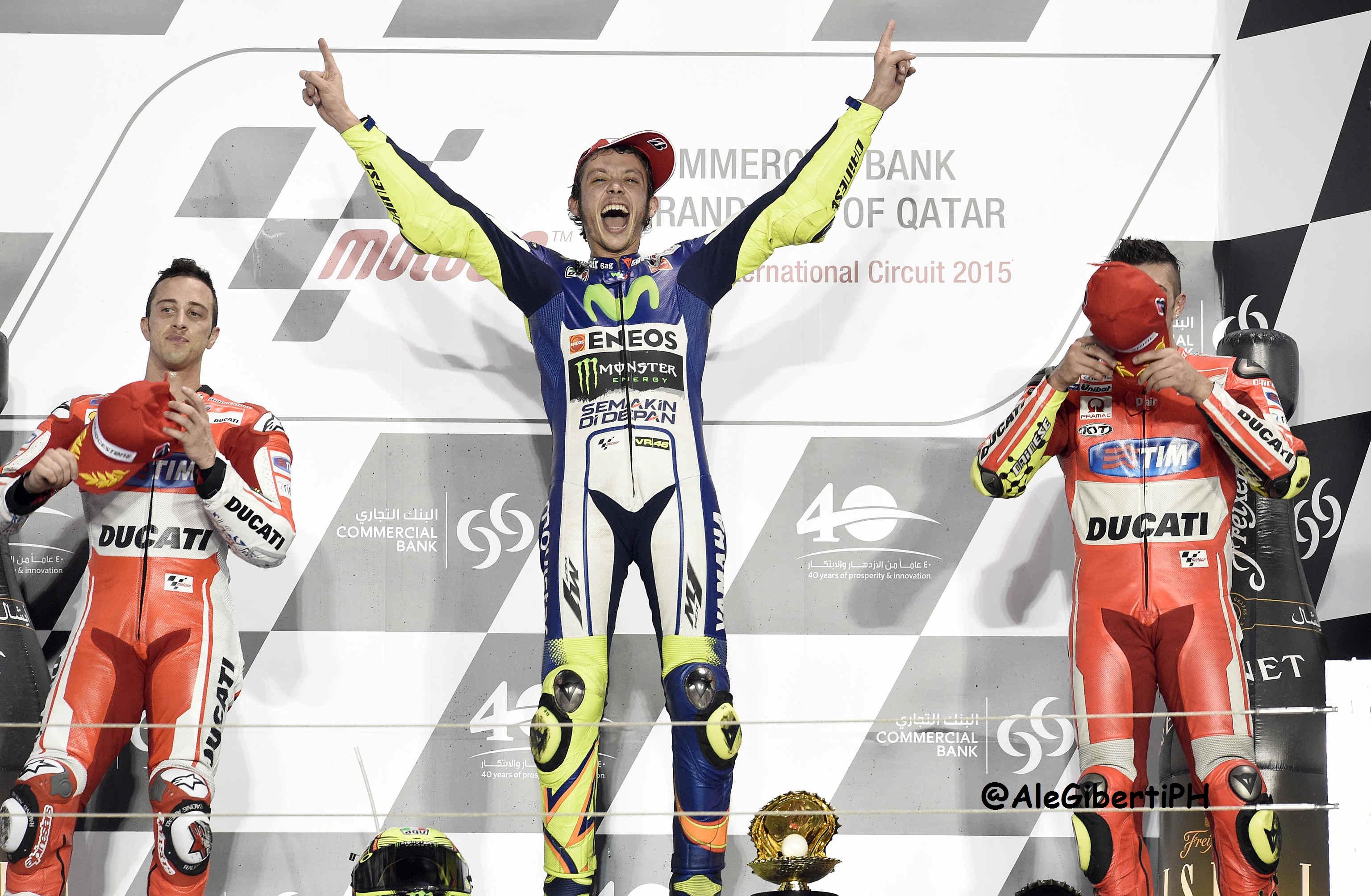 Valentino Rossi e i due Andrea Ducati
