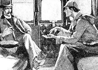 Sherlock Holmes mentre risolve un caso con l'aiuto di Watson