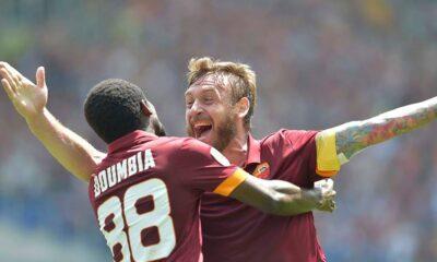 Doumbia e De Rossi esultano dopo il gol dell'1-0
