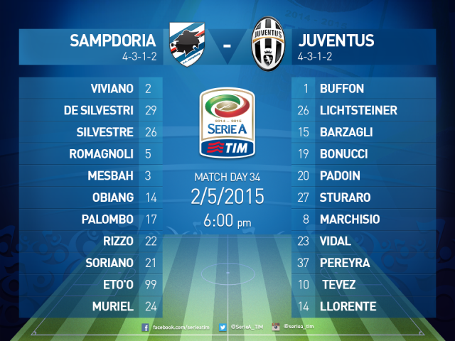 Samp Juventus Formazioni Ufficiali