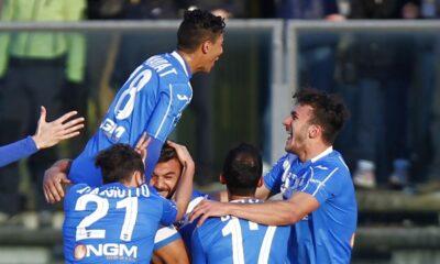 Esultanza dei giocatori del Brescia