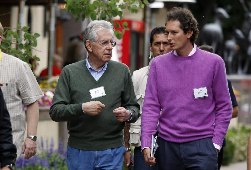Cartoline dal Gruppo Bilderberg : John Elkann e Mario Monti