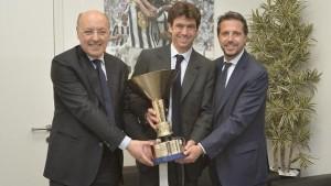 Da sinistra Beppe Marotta, il Presidente Andrea Agnelli e Fabio Paratici