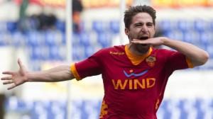 Fabio Borini con la maglia della Roma. L'anno prossimo per lui sarà derby con la sua ex squadra?