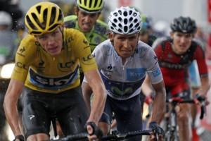Chris Froome insieme a Nairo Quintana ed Alberto Contador
