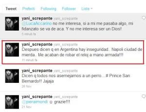 Il tweet in cui Yanina Screpante, fidanzata di Lavezzi, insultava la città di Napoli