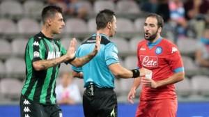 Gonzalo Higuain, sostituito da Sarri a mezz'ora dalla fine del match contro il Sassuolo