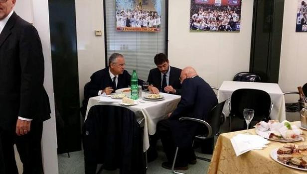 Lotito e Agnelli pranzo Serie A
