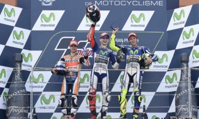 MotoGP podio Aragon: 1° Lorenzo, 2° Pedrosa e 3° Rossi
