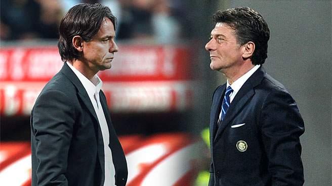 Walter Mazzarri e Filippo Inzaghi, ex allenatori di Inter e Milan