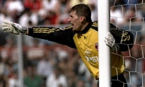 23 May 1999: Milan goalkeeper Christian Abbiati directs his troops during the Serie A match against Perugia at the Stadio Renato Curi in Perugia, Italy. The match finished in a 1-2 victory for AC Milan and they clinched the Championship title. Mandatory Credit: Allsport UK /Allsport