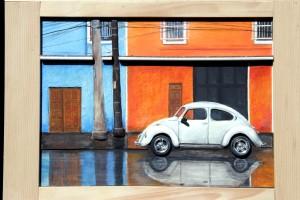 Casa America, opera di Levaggi,dopo la pioggia 50x65