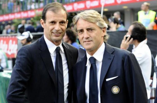 Roberto Mancini e Massimiliano Allegri, allenatori di Inter e Juventus