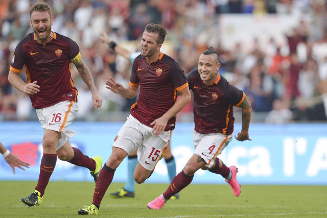 L'esultanza di Giotto dopo il goal alla Juventus